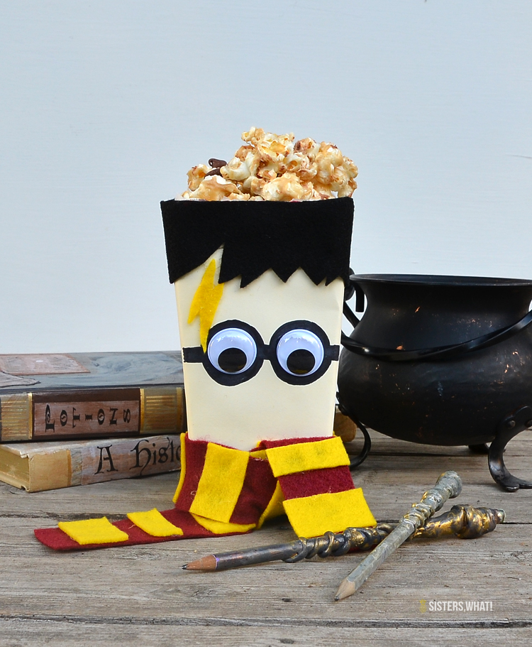Harry potter popcorn box felt and googly eyes