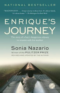 book cover image of Enrique's Journey: the story of a boy's dangerous odyssey to reunite with his mother, a book by Sonia Nazario. Book cover has a picture of a young boy sitting on top of a train car.