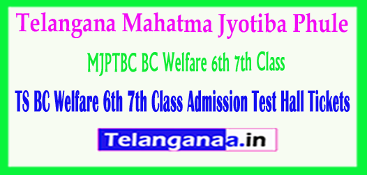 TS Telangana BC Welfare 6th 7th Class Admission Test Hall Tickets 2018