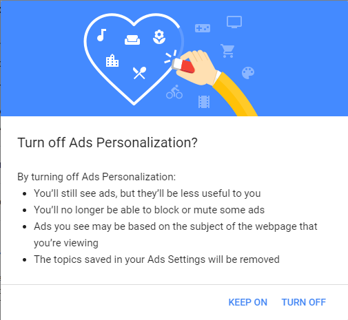 Turn off Ads Personalization?