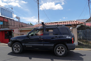 new car with water tube on top