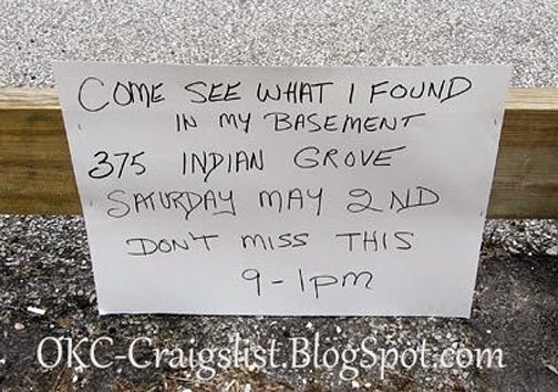 GARAGE SALE SIGN-OF-THE-WEEK: Bargain Basement - OKC Craigslist Garage Sales