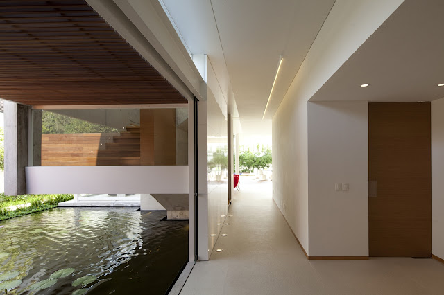 Hallway and open wall with lake