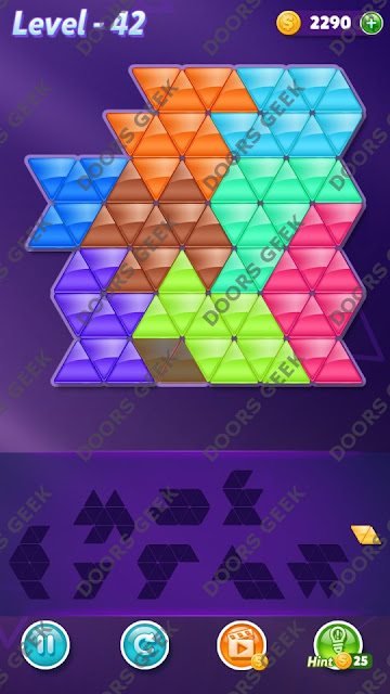 Block! Triangle Puzzle 9 Mania Level 42 Solution, Cheats, Walkthrough for Android, iPhone, iPad and iPod