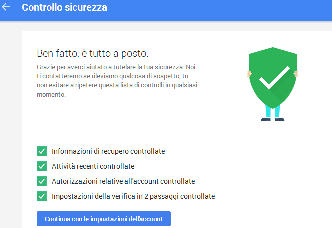 Controllo sicurezza account Google