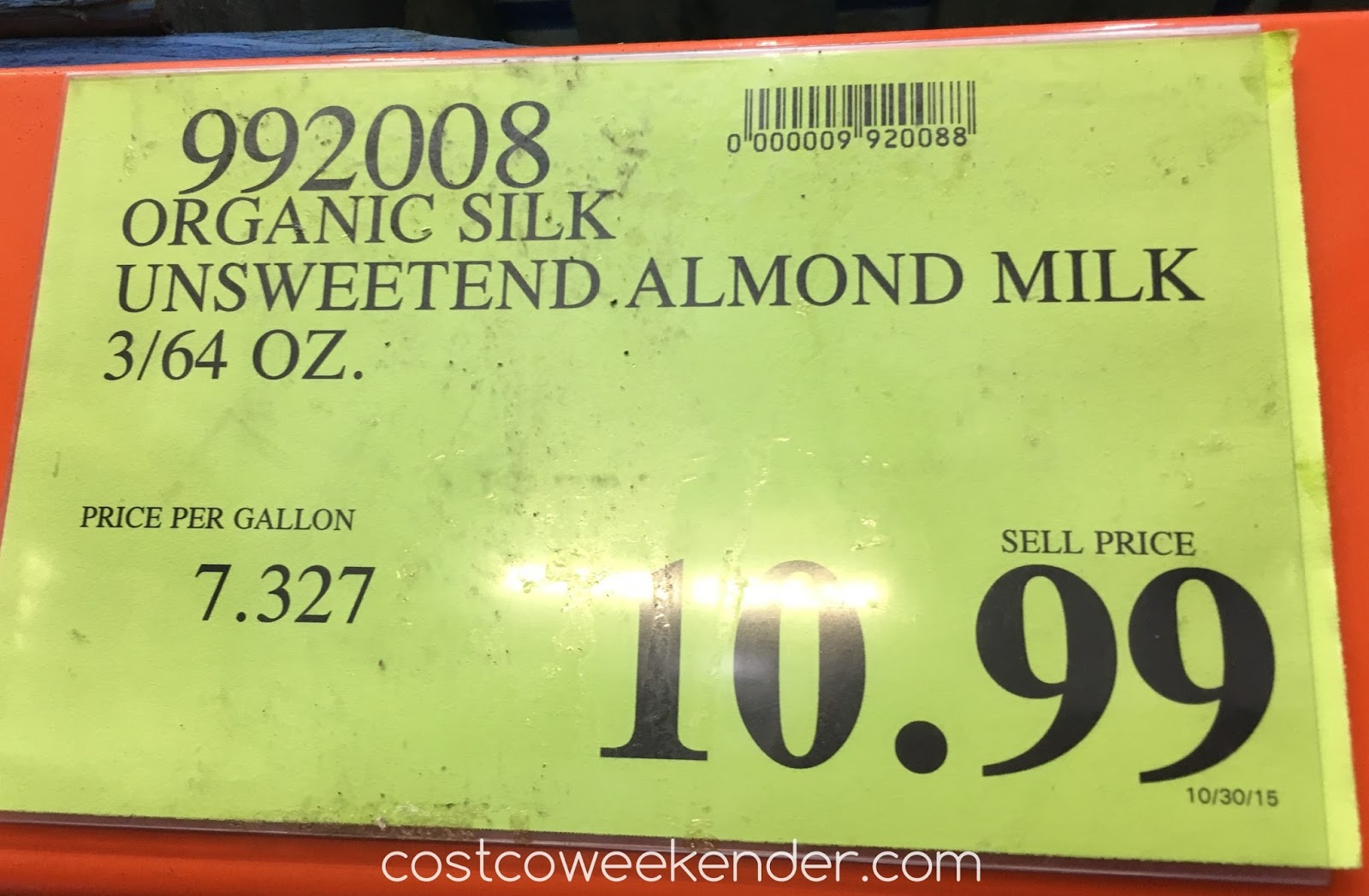 Costco 992008 - Deal for a 3 pack of Silk Organic Unsweetened Almond Milk at Costco