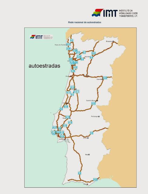 mapa da rede de autoestradas de portugal Mapas: A rede rodoviária portuguesa em mapas mapa da rede de autoestradas de portugal