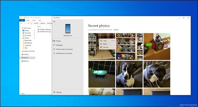 تطبيق الهاتف الخاص بك مع صور بجانب نافذة مستكشف الملفات.
