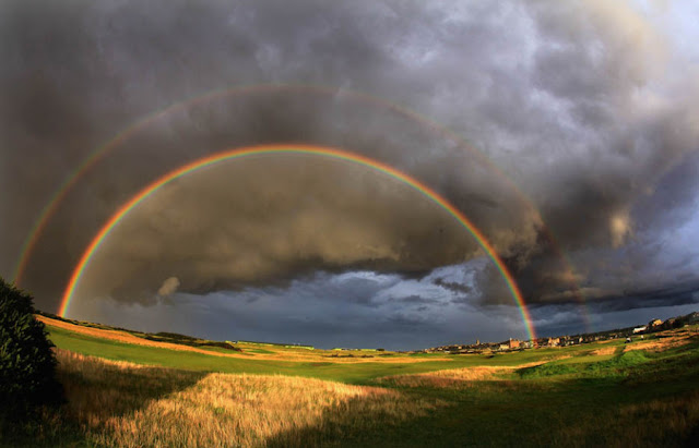A rainbow is an optical and meteorological phenomenon that is caused by reflection, refraction and dispersion of light in water droplets resulting in a spectrum of light appearing in the sky. It takes the form of a multicoloured arc. Rainbows caused by sunlight always appear in the section of sky directly opposite the sun.