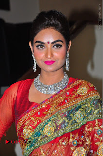 Model Sharon Fernandes Stills in Red Saree at Trendz Exhibition Launch  0005.JPG