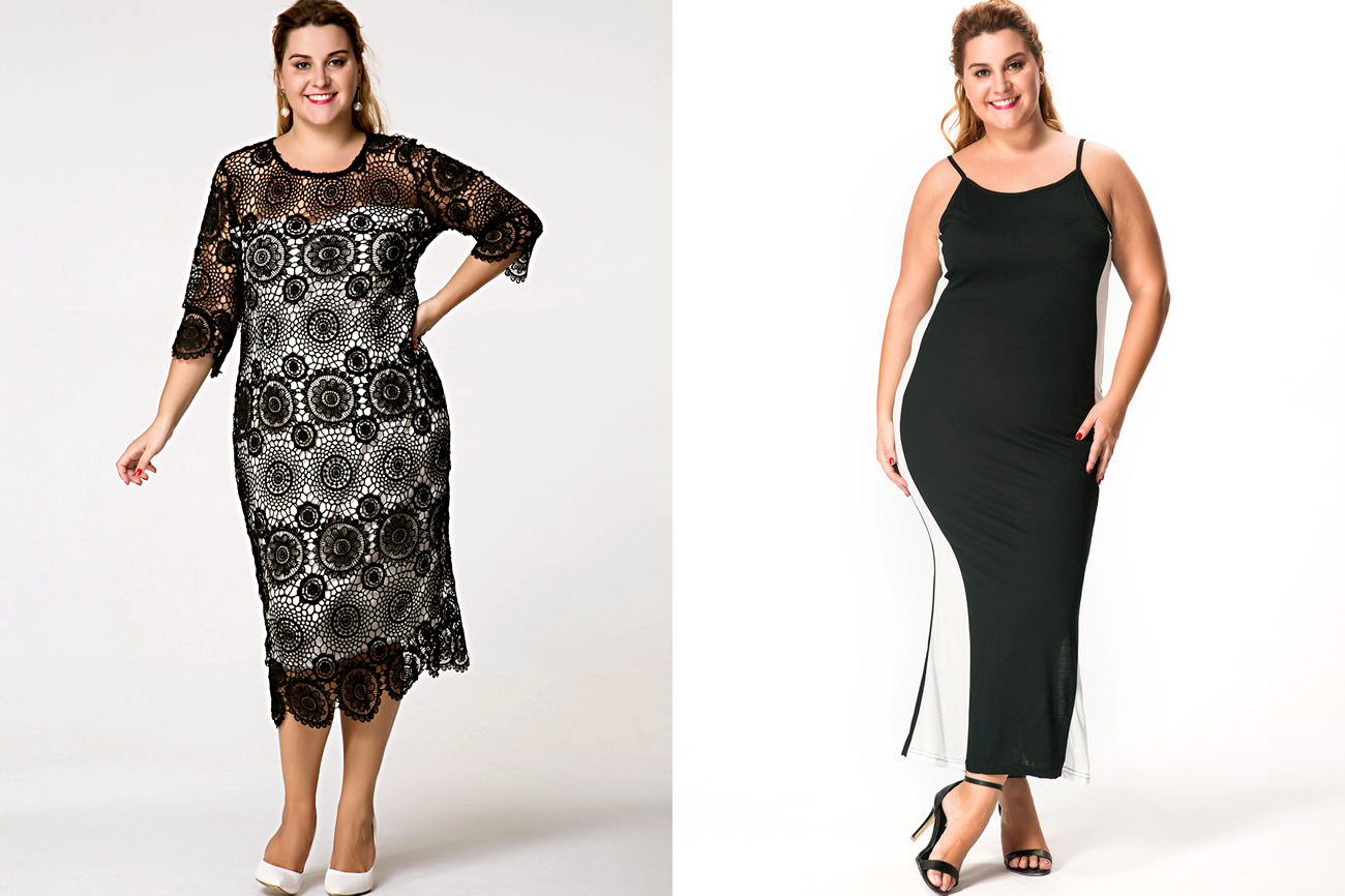 Vestidos Plus Size Black & White