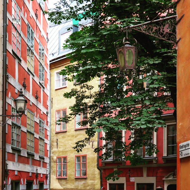 colorful facades in Stockholm's Gamla stan (Old Town)