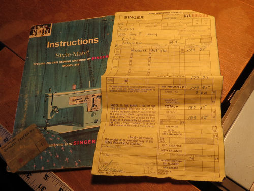 Singer model 248 Style-mate sewing machine receipt 1967
