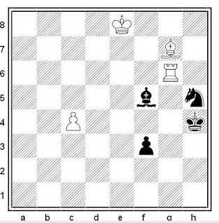 Estudio artístico de A. J. Roycroft (4ª Premio exaequo, American Chess Quarterly 1965)