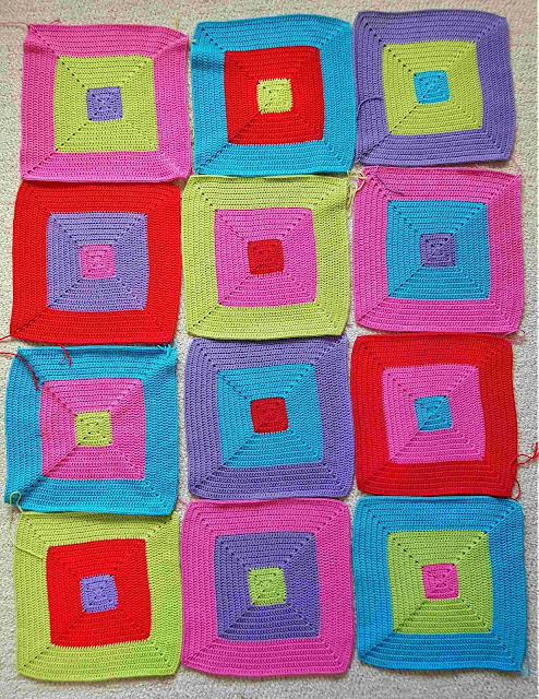 Bright colourful crochet colour block squares - to be made into a blanket.