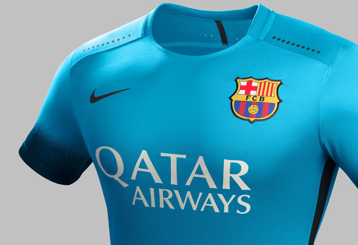 65b8733a0 The new FC Barcelona Third Jersey boasts a striking design that combines  light blue with black gradient details. Nike makes the striking Barcelona  2015-2016 ...