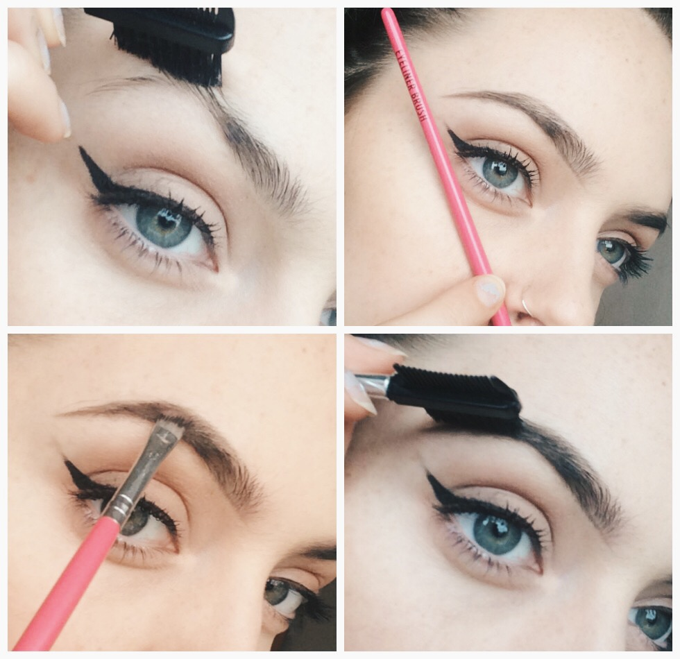 How to do gradient eyebrows steps 1-4 collage