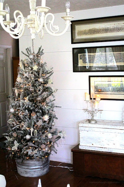 Christmas, Flocked Tree, Farmhouse, Cottage, Decorating, Tinsel, Trunks, Military Panoramic, Galvanized Tree Collar, Shiplap