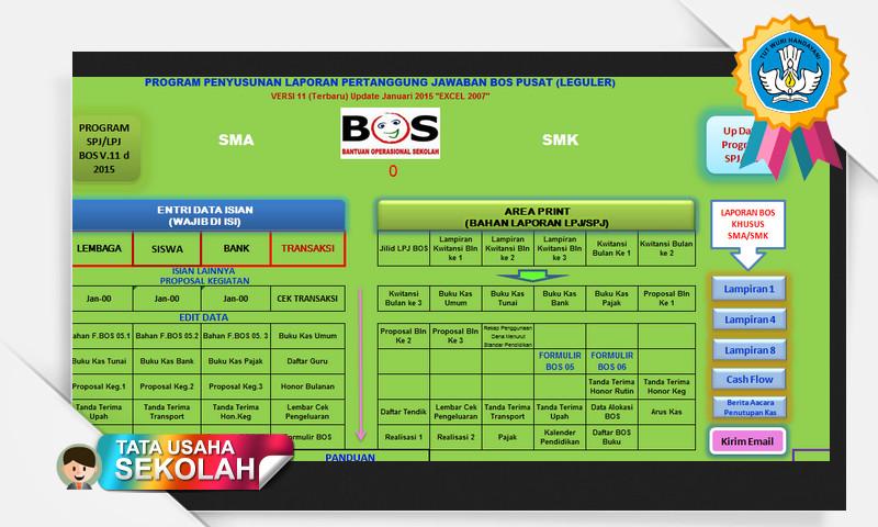 Aplikasi Excel Pembuat Laporan SPJ BOS Referensi 2016 SD SMP SMA SMK MA MI MTS
