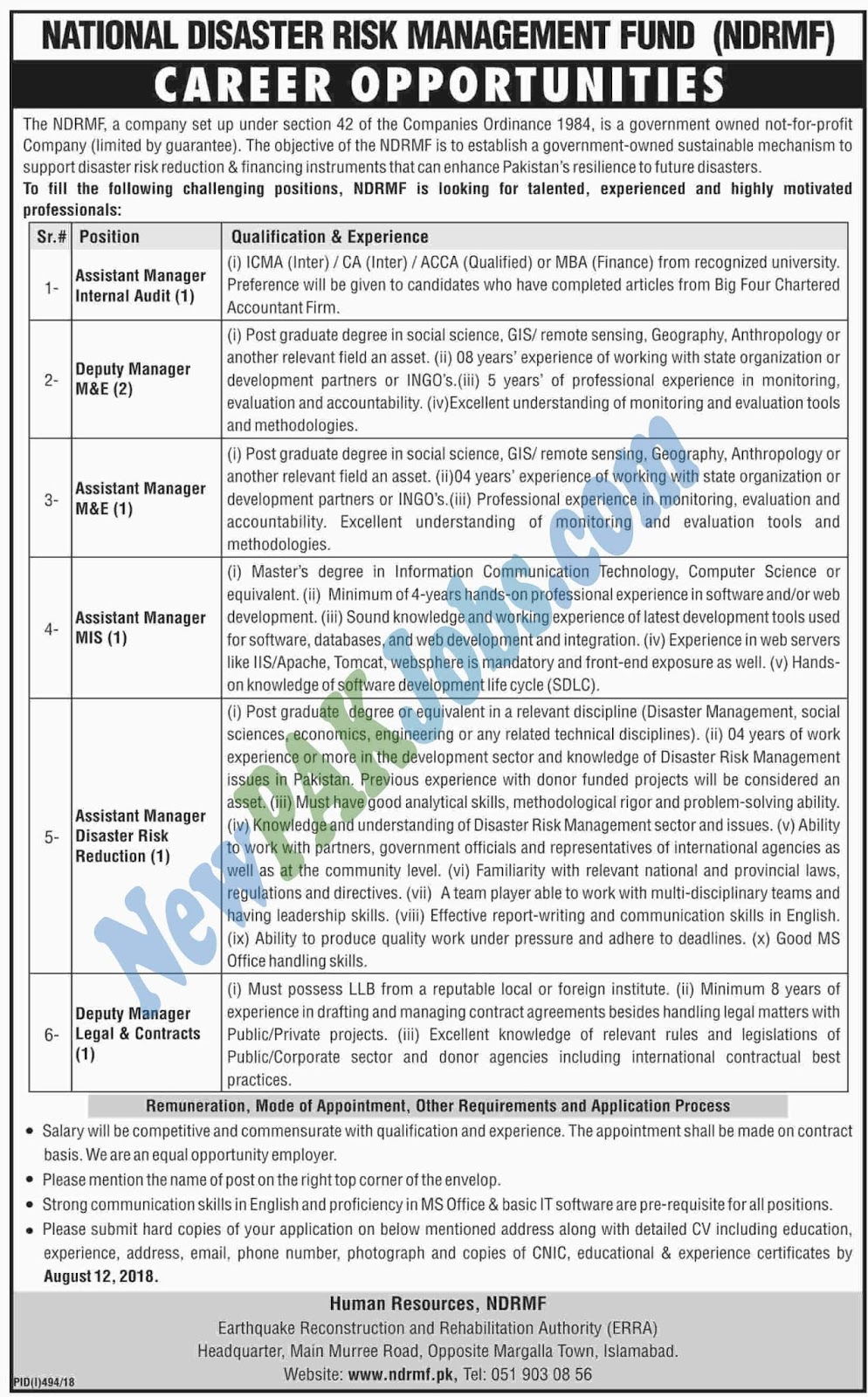 National Disaster Risk Management Fund 2018 Latest Jobs