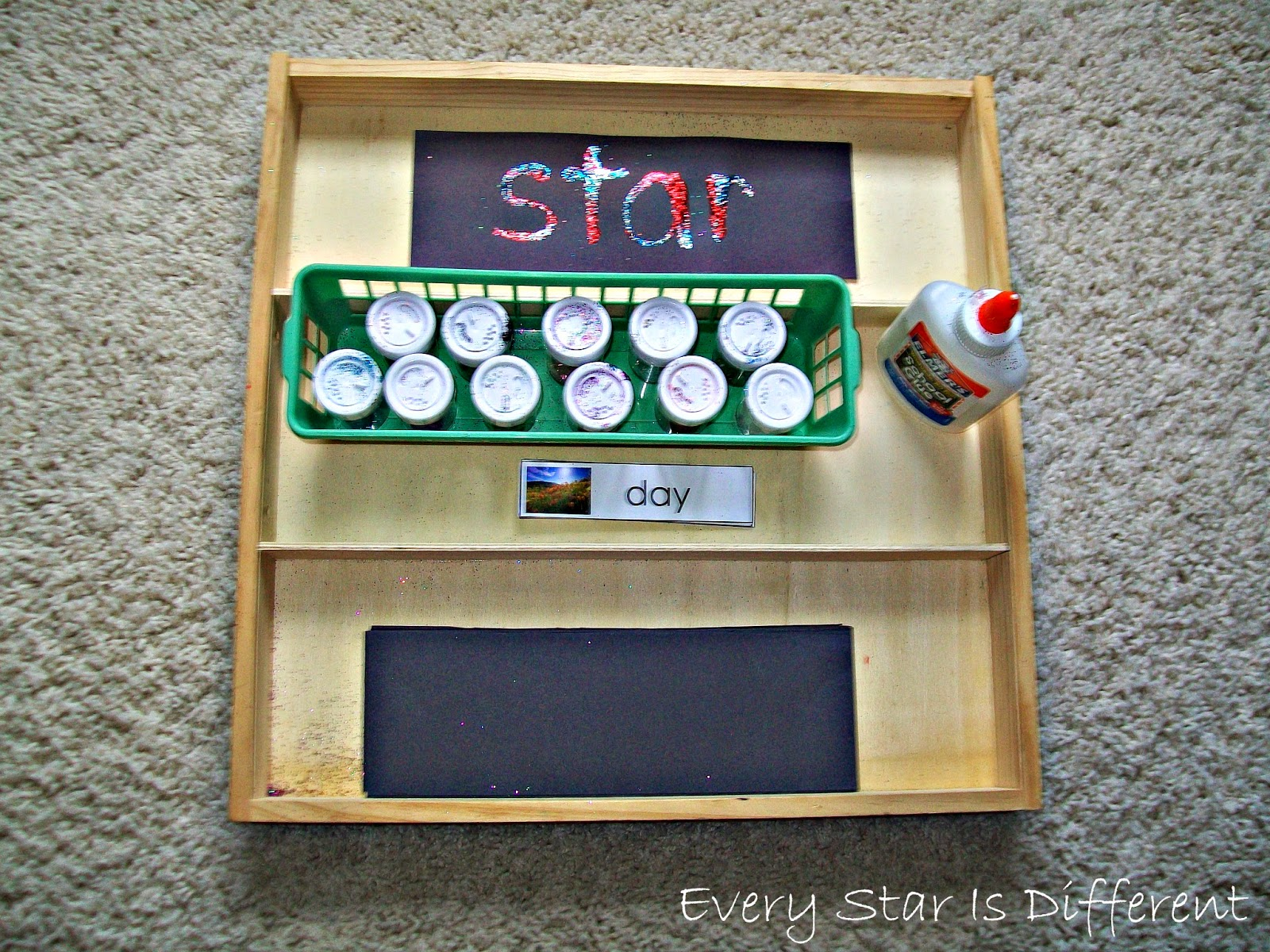 Glue and Glitter Spelling Word Practice Activity for Kids