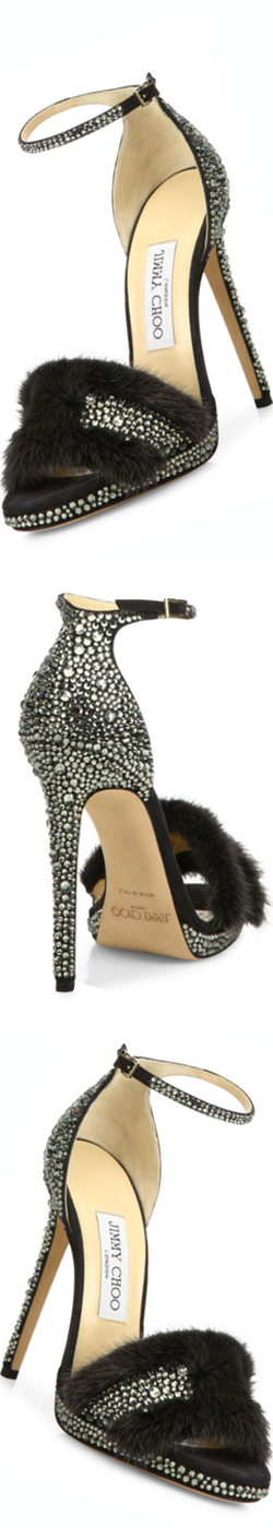 Jimmy Choo Kaylee Crystal-Embellished Suede & Mink Fur Ankle-Strap Sandals