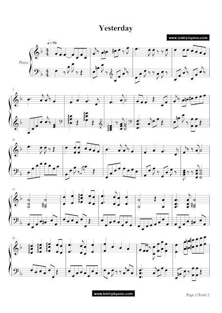 Yesterday Piyano Notaları, Yesterday Piano Notes, Yesterday Piano Sheets, The Beatles Piyano Notaları, The Beatles Piano Notes, The Beatles Piano Sheets, Beatles Piyano Notaları