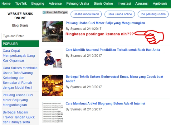 Mengapa dan Bagaimana Cara Mengatasinya Jika di Home Page Blog Hanya Tampil Thumbnail Gambar dan Judul Artikel (Ringkasan Postingnya Tidak Muncul)