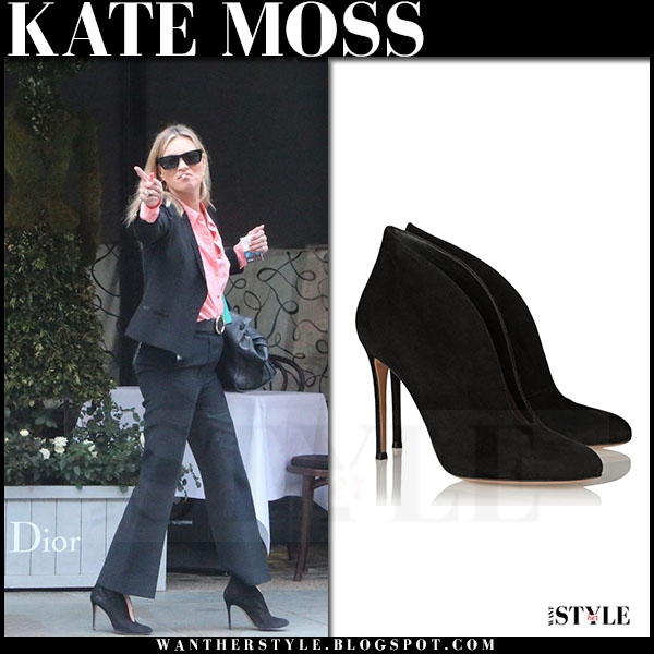 Kate Moss in black suit and black suede ankle boots gianvito rossi vamp what she wore
