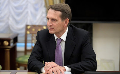 Director of the Foreign Intelligence Service Sergei Naryshkin at a meeting with permanent members of the Security Council