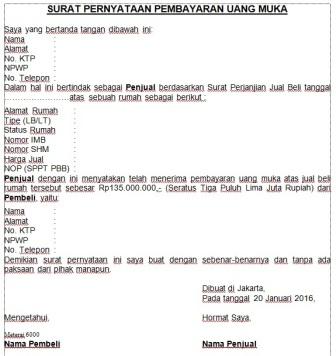 Contoh Surat Pernyataan Pembayaran Uang Muka Assalam Print