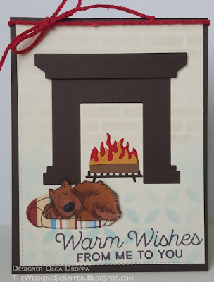 Card with puppy in front of the fireplace using MFT fireplace, Let's Get Cozy, You Make My Tail Wag and SU Bow Wow