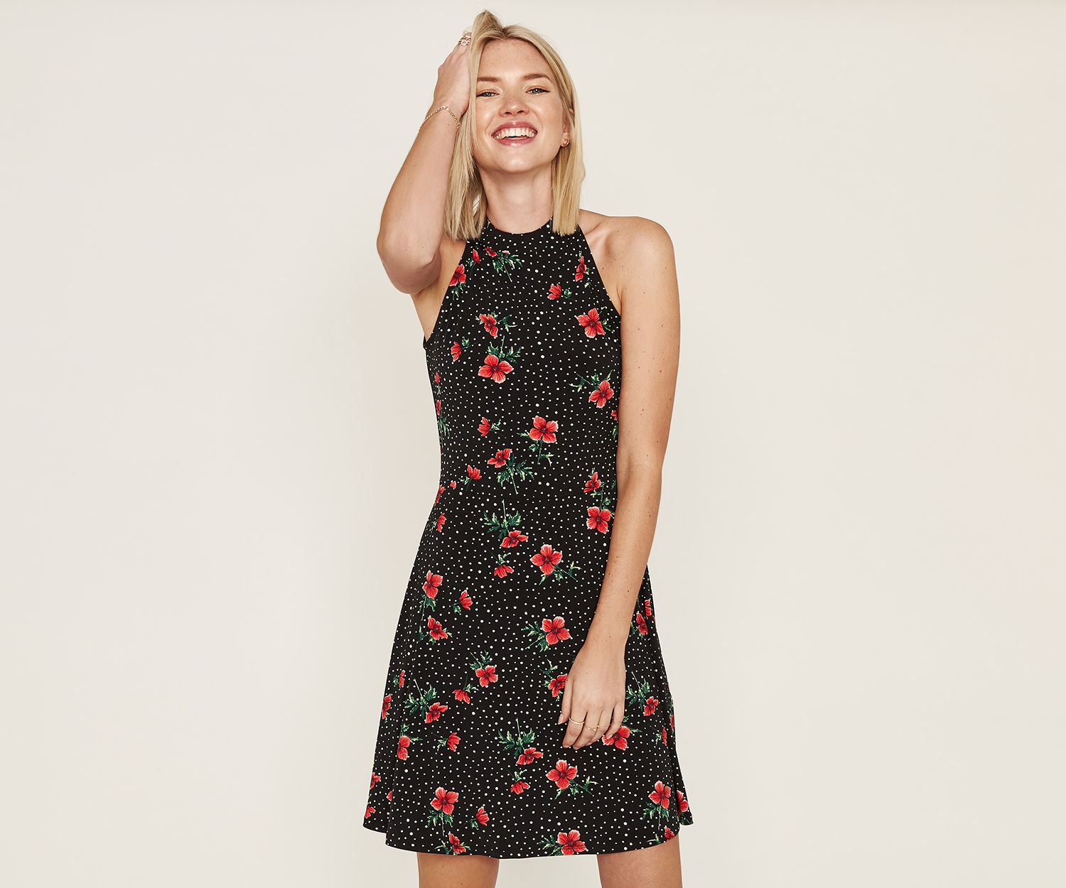 Oasis Black Poppy Flippy Dress - UK style blog