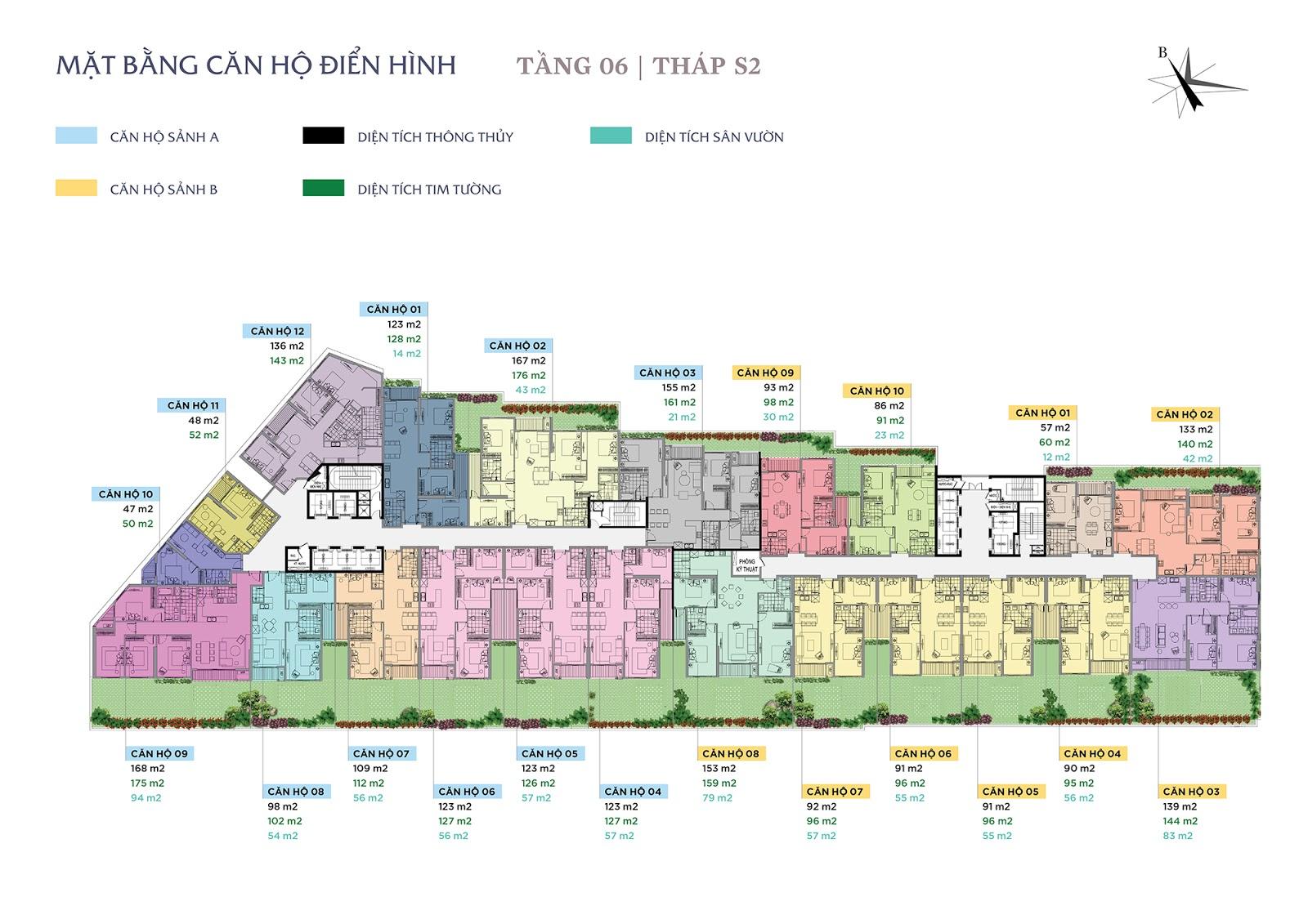 Thiết kế mặt bằng điển hình chung cư Sun Grand City
