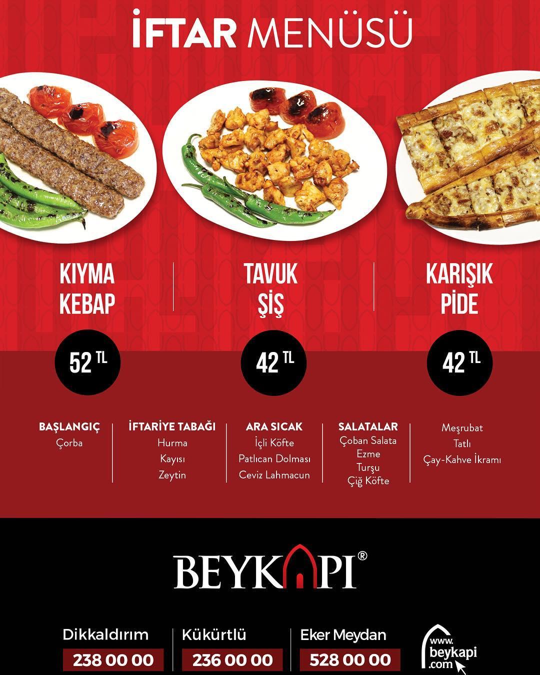 beykapı kebap bursa iftar menu fiyat