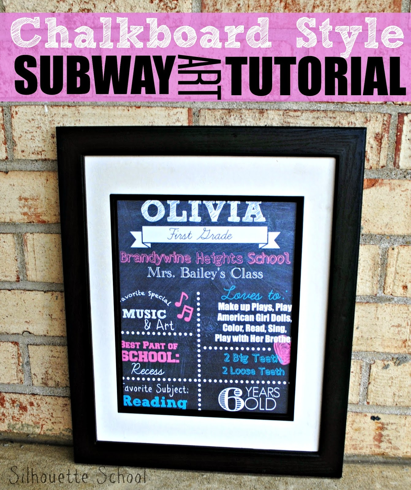 Subway art, chalkboard style, Silhouette tutorial, Silhouette Studio, PicMonkey