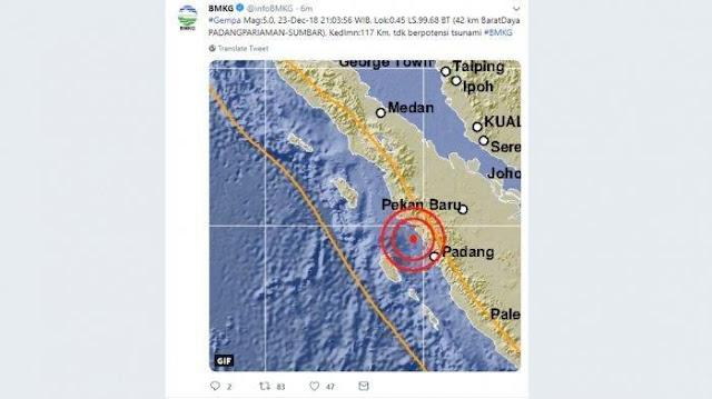 Gempa 5 SR Guncang Sumbar