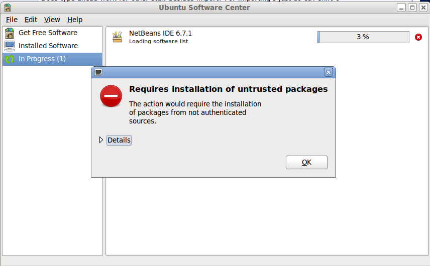 Requires installation of untrusted packages' - Software