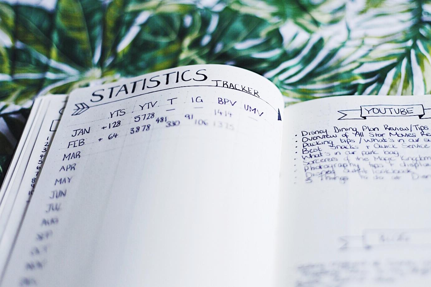 Bullet Journal Statistics Tracker