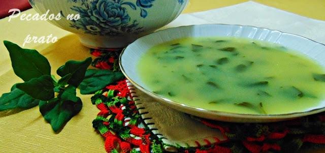 Receita de sopa de espinafre