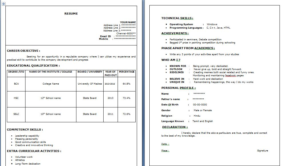 use microsoft word to create your resume main text font size 10 side heading text font size 12 font name verdana or ariel - Font Size For Resume