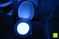 Raumbeleuchtung: Bonlux Bewegung aktiviert LED-WC-Nachtlicht 16 Farben ändern Batteriebetriebene automatische Sensor-LED-Nachtlicht für Badezimmer Waschraum -WC-Schüssel Sitz Lampe [Energieklasse A+]