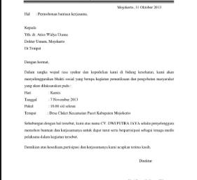 Contoh Surat Permohonan Menjadi Pemateri / Narasumber
