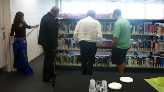 Librarians and staff from the Pacific Centre browsing the new Pacific Collection.