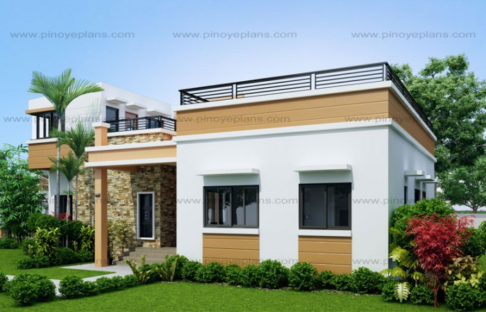 10 bungalow single story modern house with floor plans for One floor house design plans 3d