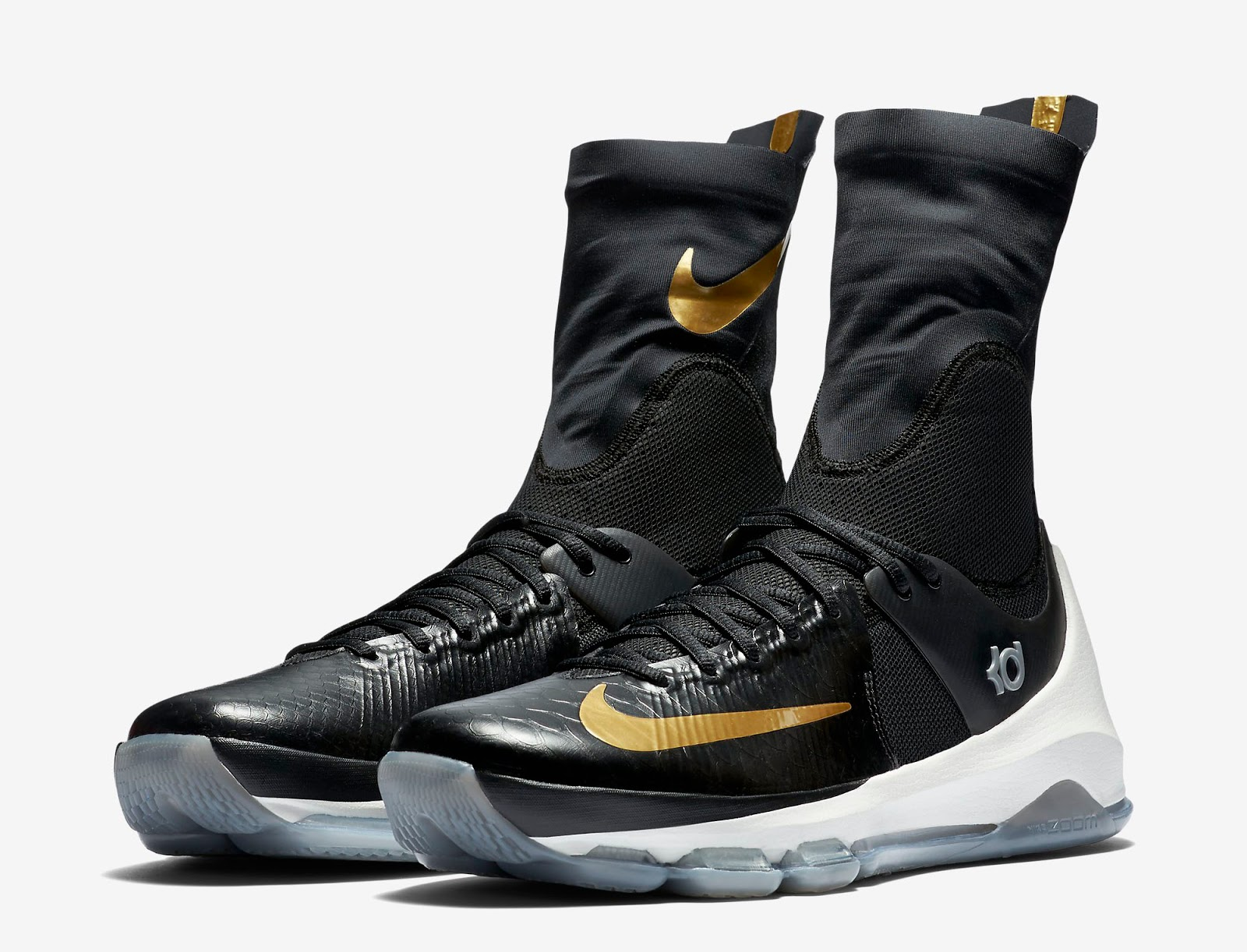 quality design 1471e 07988 Just in time for Kevin Durant s run for the NBA Finals, this Nike KD 8 Elite  comes in a black, metallic gold and sail colorway. Featuring a black-based  ...