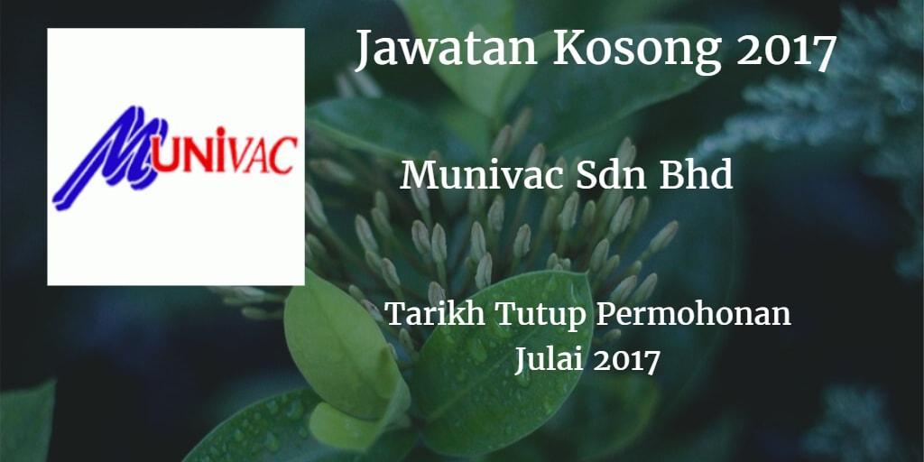Jawatan Kosong Munivac Sdn Bhd Julai 2017