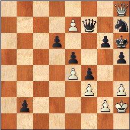 Torneo Nacional de Madrid 1941, partida de ajedrez Rey Ardid - Fuentes, posición después de 68...Df7!