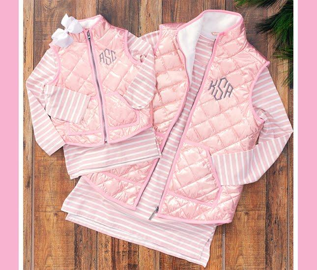 matching monogram vests