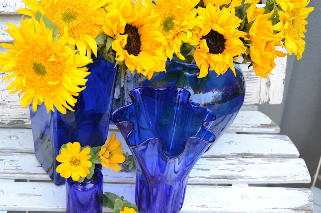 My Painted Garden Painting Yellow Flowers In A Blue